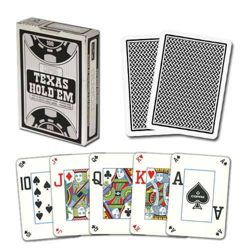 Texas Hold'em Plastic PVC Peek Index 4 Corner, schwarz silber, 5411068640551