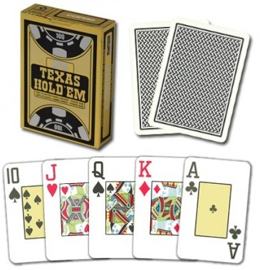 Copag Texas Hold'em, Jumbo Index, Poker size Gold/Schwarz