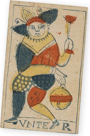 Solothurner Spielkarte. Schellenunter. Solothurn, 1743. Holzschnitt, koloriert. Drucker: Rochus Schaer