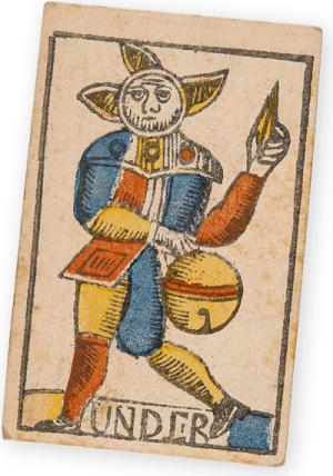 Schaffhauser Spielkarte. Schellenunter. Schaffhausen, Um 1800. Holzschnitt, schablonenkoloriert. Drucker: David Hurter.
