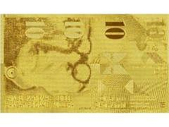 Goldige CHF 10.-- Banknote